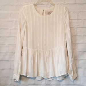 Loft white frayed stripes long sleeve top blouse